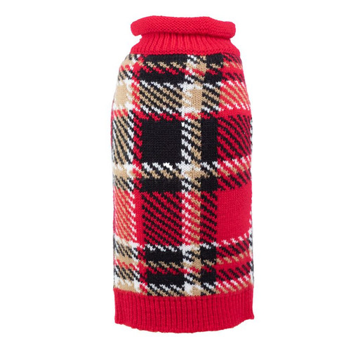Worthy Dog Plaid Dog Sweater - Red