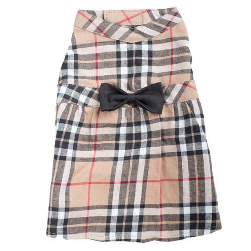 Worthy Dog Flannel Plaid Dress | Tan Plaid