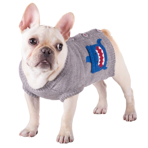 Worthy Dog Cardigan Dog Sweater | Shark