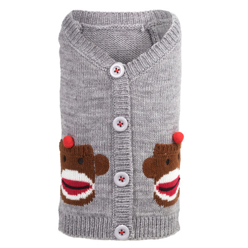 Worthy Dog Cardigan Dog Sweater | Sock Monkey