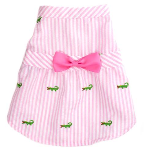 Worthy Dog Cotton Dog Dress | Pink Stripe Alligator