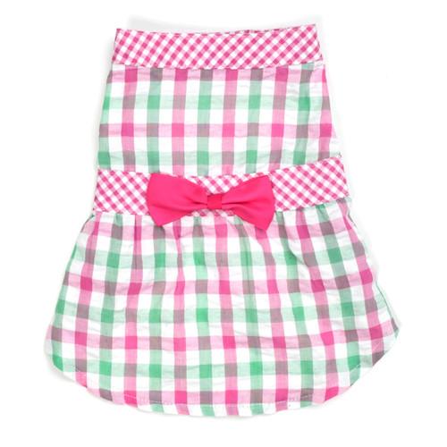 Worthy Dog Cotton Dog Dress | Pink Check