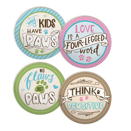 Set of 4 Coasters | Dog Sayings Pastel