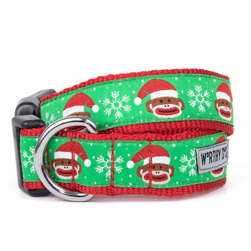Holiday Sock Monkey Dog Collar