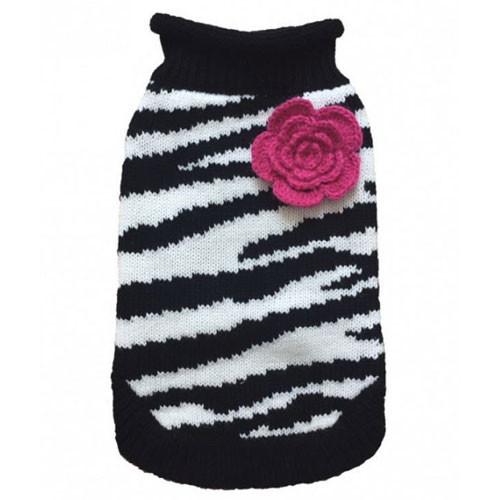 Zebra Fleur Dog Sweater