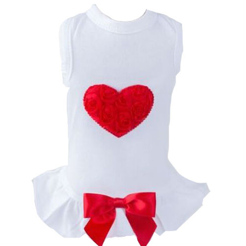 Red Puff Heart Dog Dress