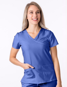 1200 - 4Flex Mock Wrap Top in Ceil Blue