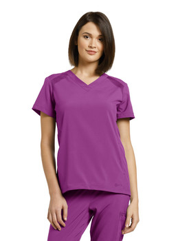 White Cross Fit Solid V-Neck Top (746) in Mystic Violet