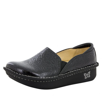 Debra Black Embossed Rose Shoe