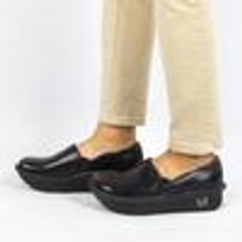 Alegria Debra Black Embossed Rose Shoe