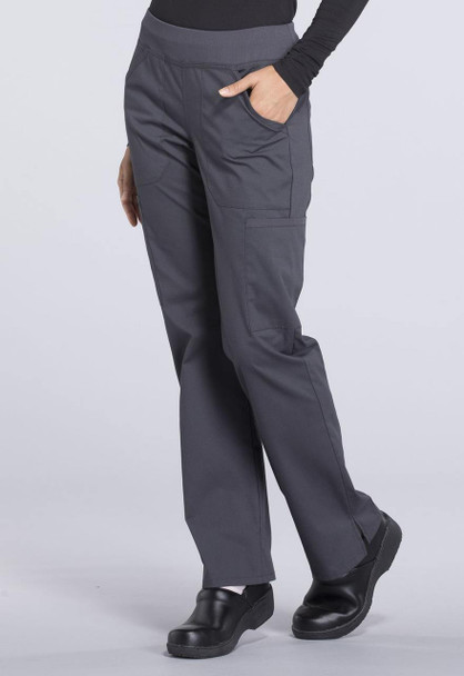 Cherokee Petite Mid Rise Straight Leg Cargo Pant (WW170P) in Pewter