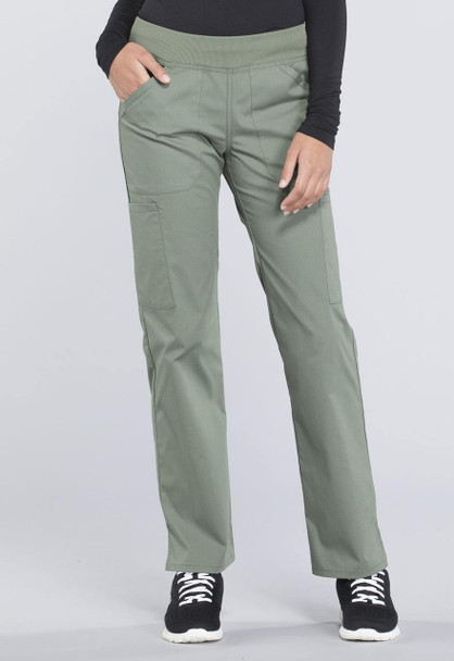 Cherokee Petite Mid Rise Straight Leg Cargo Pant (WW170P) in Olive Green