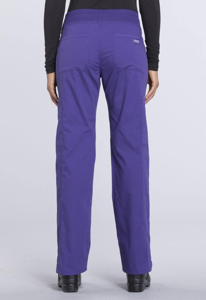 Cherokee Petite Mid Rise Straight Leg Cargo Pant (WW170P) in Grape
