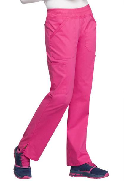 Cherokee Petite Mid Rise Straight Leg Cargo Pant (WW170P) in Hot Pink