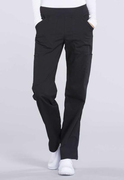 Cherokee Petite Mid Rise Straight Leg Cargo Pant (WW170P) in Black