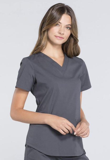 Cherokee Modern Classic V-Neck Top (WW665) in Pewter