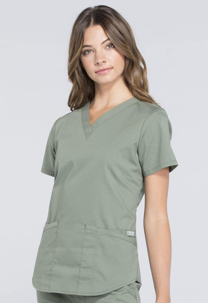 Cherokee Modern Classic V-Neck Top (WW665) in Olive Green