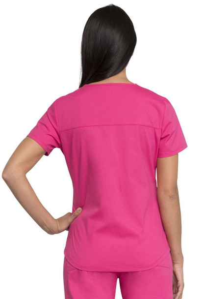Cherokee Modern Classic V-Neck Top (WW665) in Hot Pink