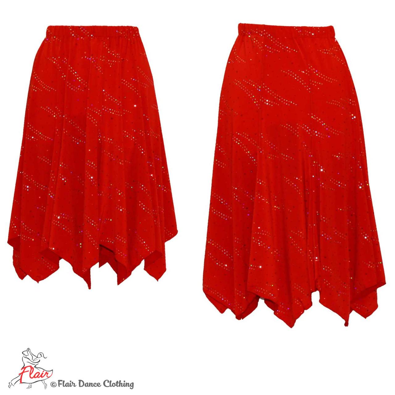 6b9e23c2cc Red with Sequins Hanky Hem Skirt - Flair Dance Clothing