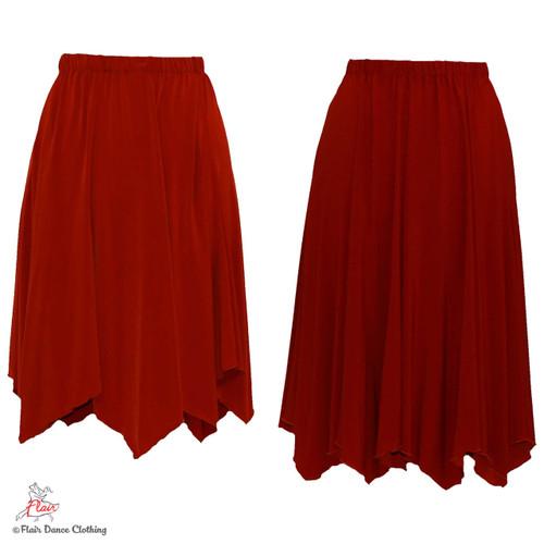 Rust - solid Hanky Hem Skirt