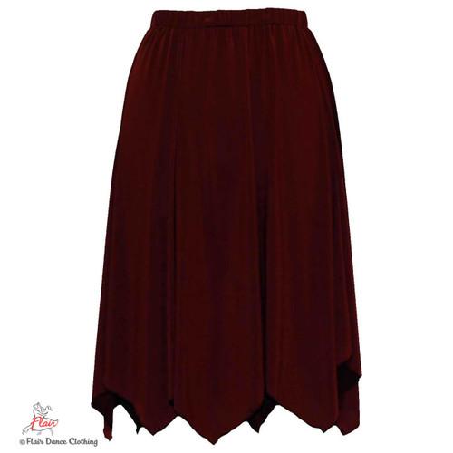 Burgundy - solid Hanky Hem Skirt
