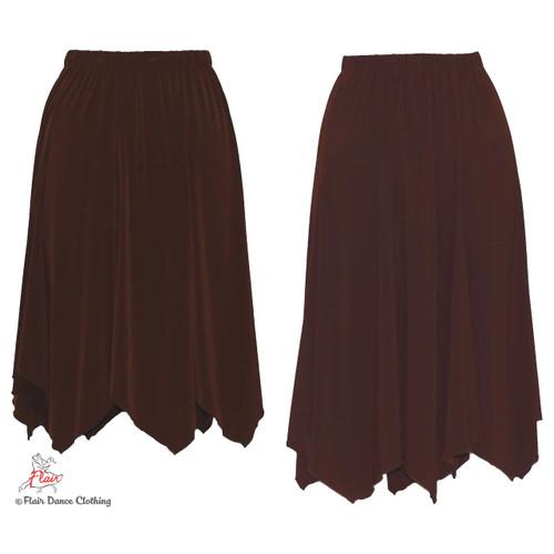 Brown - solid Hanky Hem Skirt