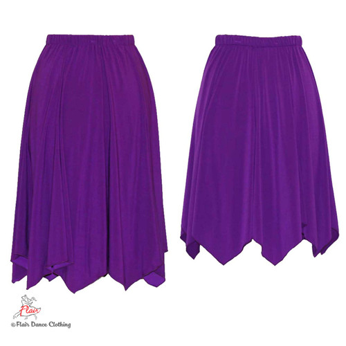 Purple - solid Hanky Hem Skirt