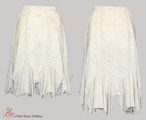 White with Sequins Tango Skirt