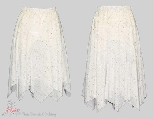 White with Sequins Hanky Hem Skirt
