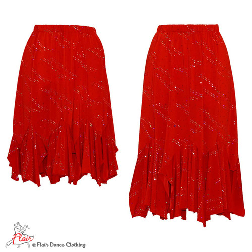 Red with Sequins Tango Skirt