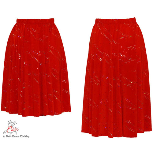 Red with Sequins Ronde Skirt