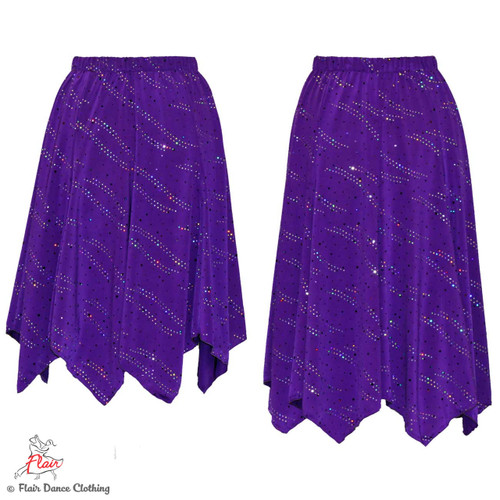 Purple with Sequins Hanky Hem Skirt