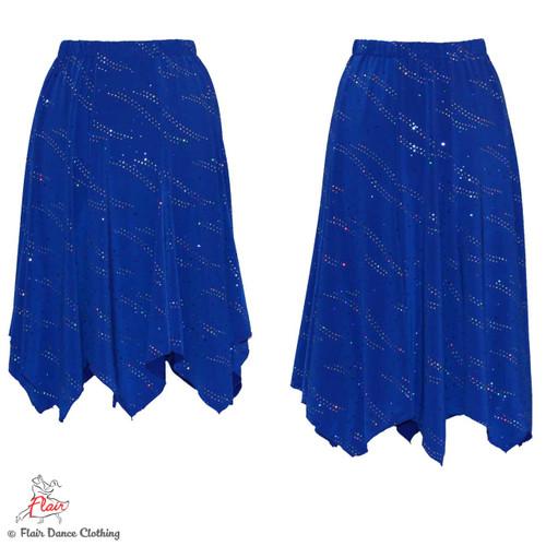 Royal Blue with Sequins Hanky Hem Skirt