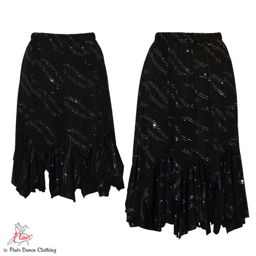 Black with Sequins Tango Skirt