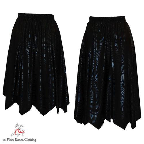 Black on Black Hanky Hem Skirt