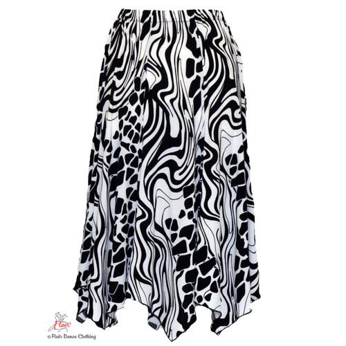 Mashed Black and White Hanky Hem Skirt