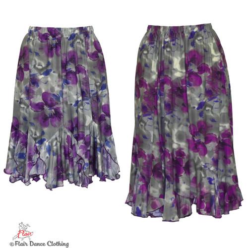 Grey with Purple Roses Tango Skirt