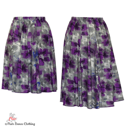 Grey with Purple Roses Ronde Skirt