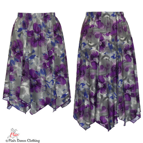 Grey with Purple Roses Hanky Hem Skirt