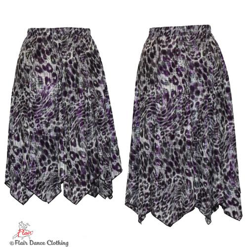 Grey Cheetah with Purple Foil Hanky Hem Skirt