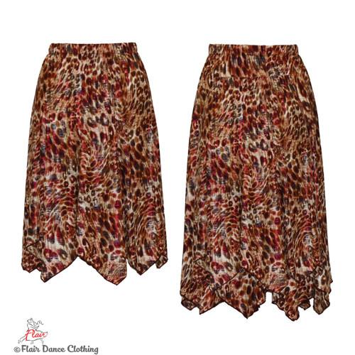 Brown Cheetah with Raspberry Foil Hanky Hem Skirt