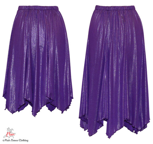 Purple Shimmer Hanky Hem Skirt