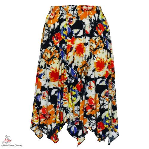 Sunny Floral Hanky Hem Skirt