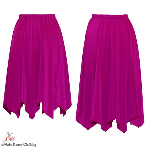 Magenta - Solid Hanky Hem Skirt