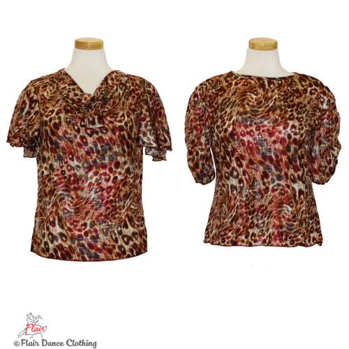 Brown Cheetah with Raspberry Foil Blouses