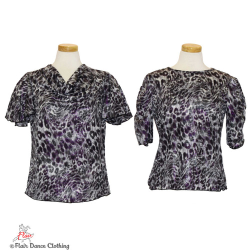Grey Cheetah with Purple Foil Blouses