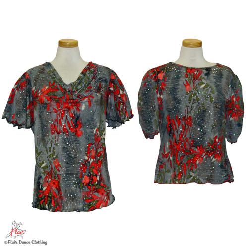 Grey with Red Floral Blouses