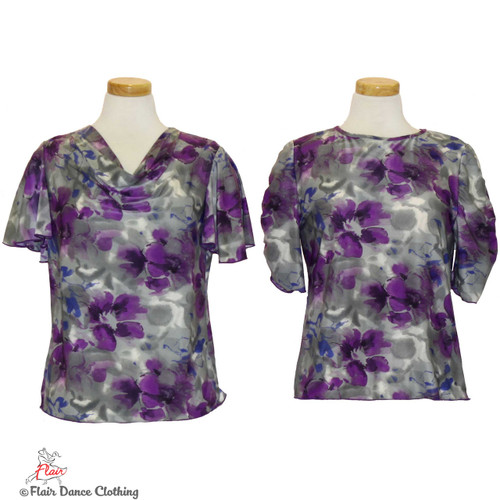 Grey with Purple Roses Blouses