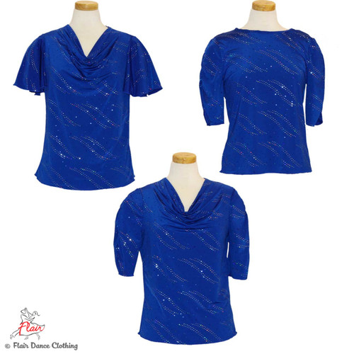 Royal Blue with Sequins Blouses