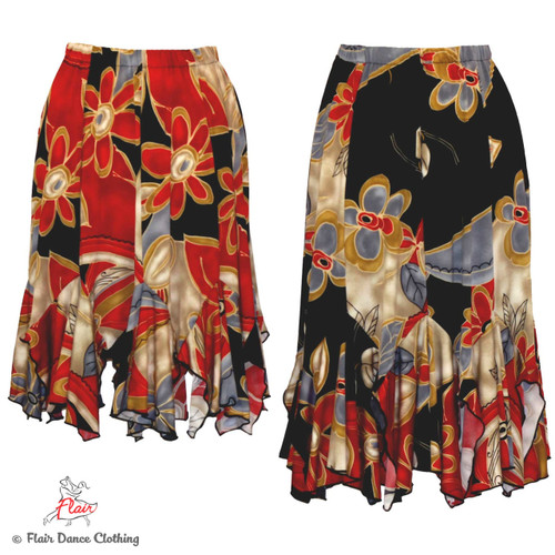 Red, Taupe,  Black Floral Tango Skirt